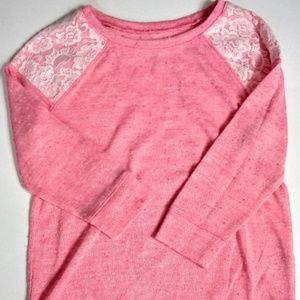 Girls Pink with Lace Long Sleeve Top 12